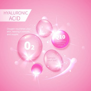 pink drops of hyaluronic acid