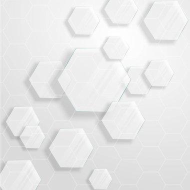 Glass hexagons randomly arranged background stock vector