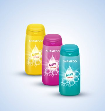 Set of shampoo bottles.
