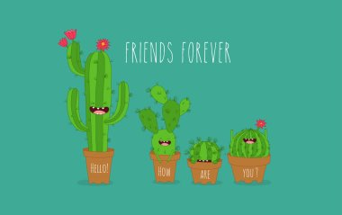 Vector illustration of funny cactus plants greeting card clip art vector