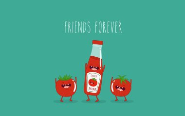Vector illustration of Funny ketchup and tomatoes with friends forever lettering stock vector