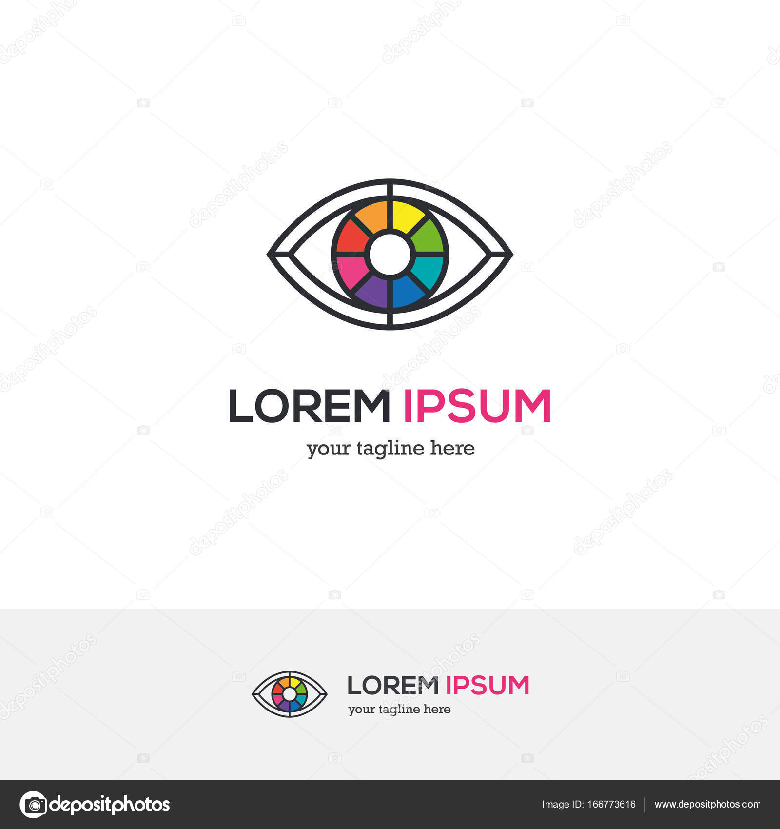 Bright Creative Eye Logo Looking Like A Color Wheel Colorful Vision Symbol Linear Icon Vector By Maglyvi