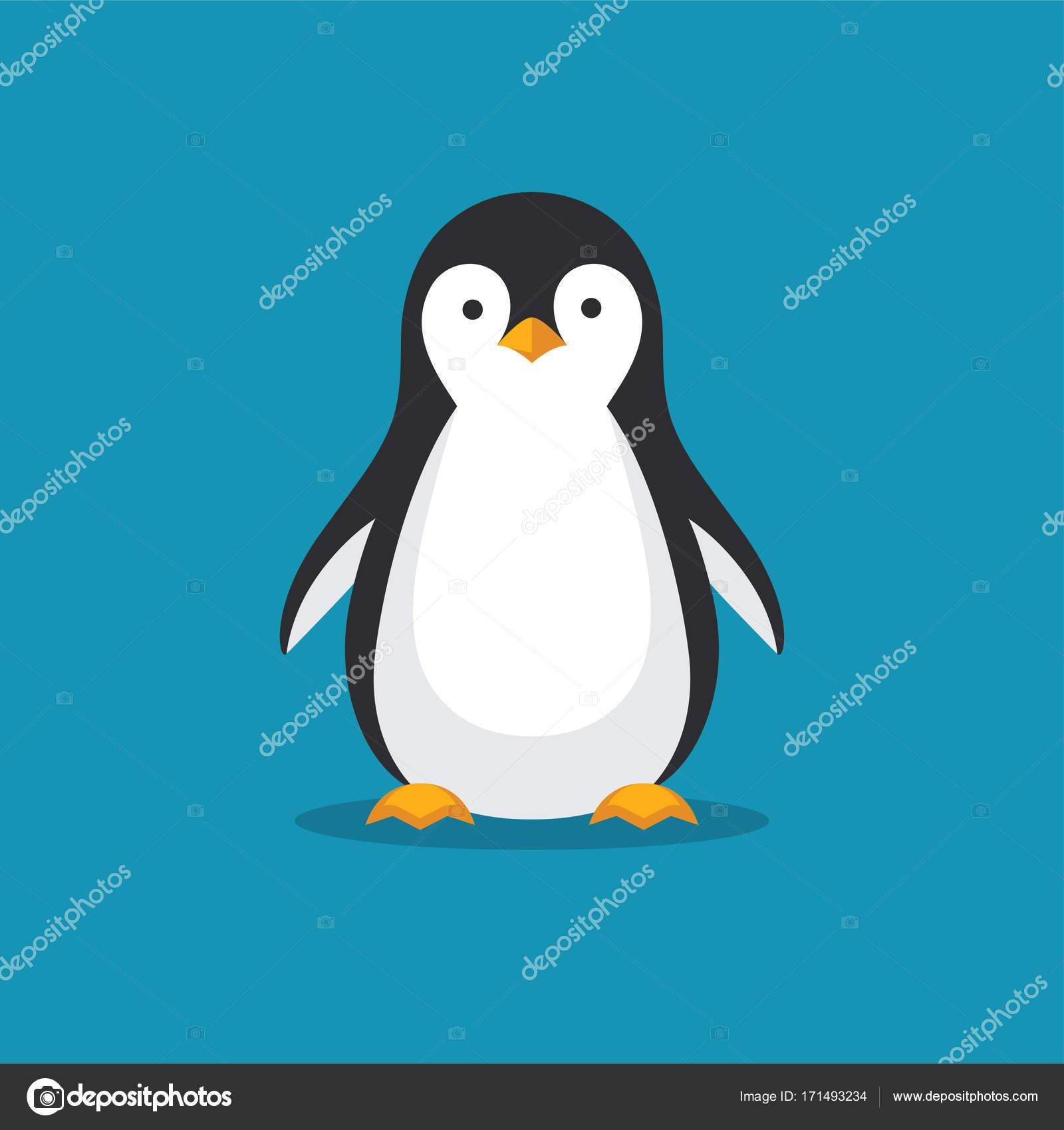 フラット スタイルのかわいいペンギン アイコン。寒い冬のシンボルです。南極鳥、動物のイラスト \u2014 ベクターmaglyvi