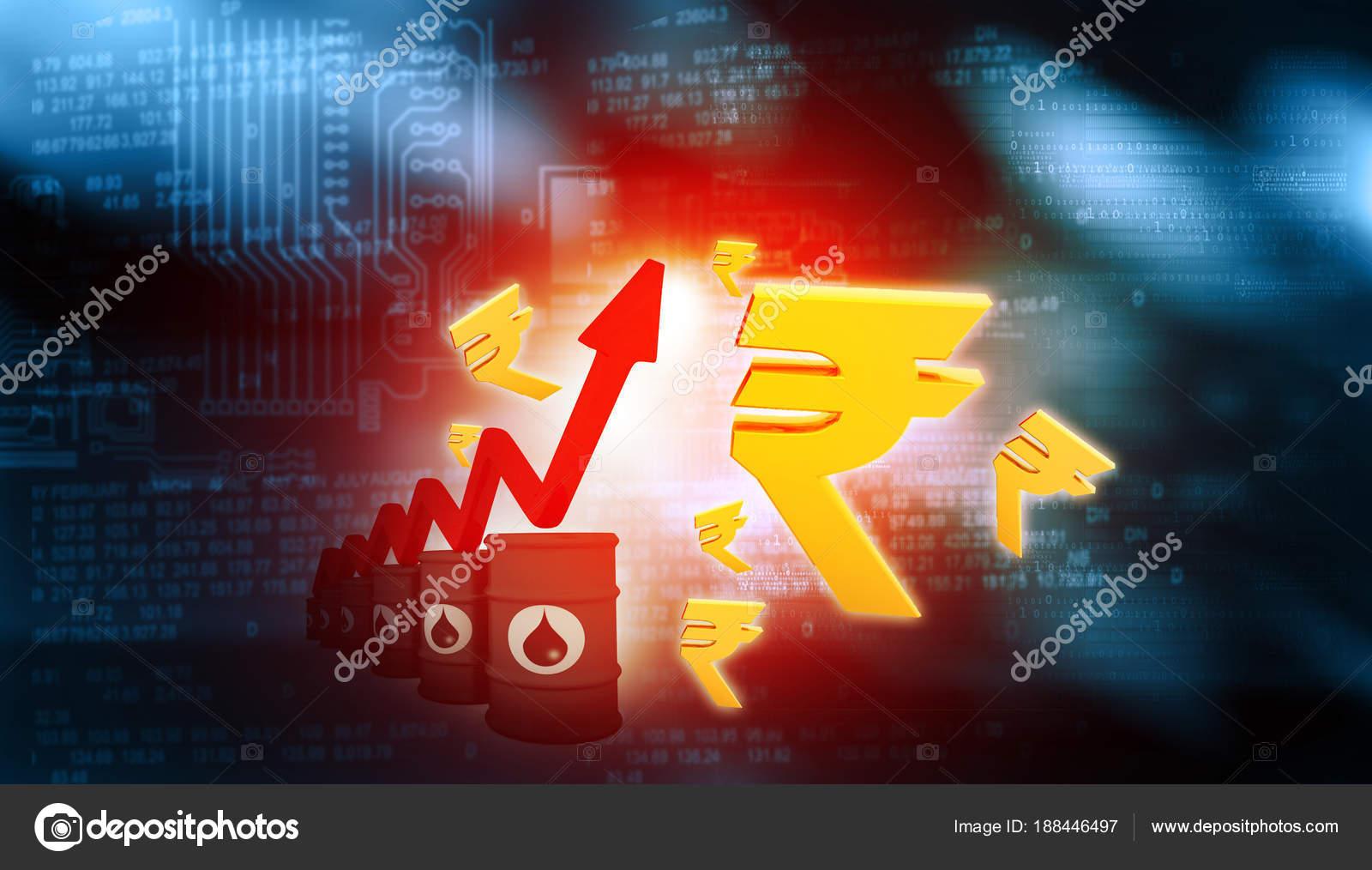 Increasing Oil Price Indian Rupee Symbol High Price Oil Growing