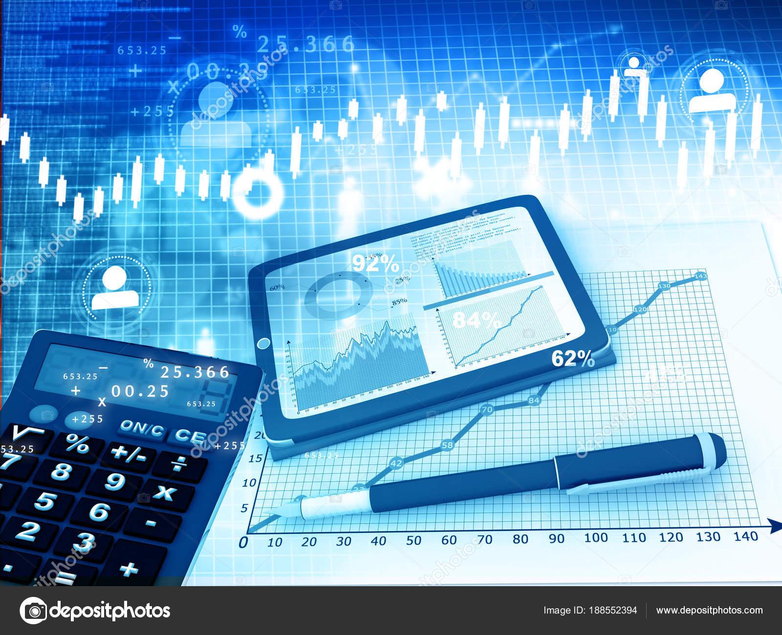 Business Graph Calculator Tablet Pen Financial Background