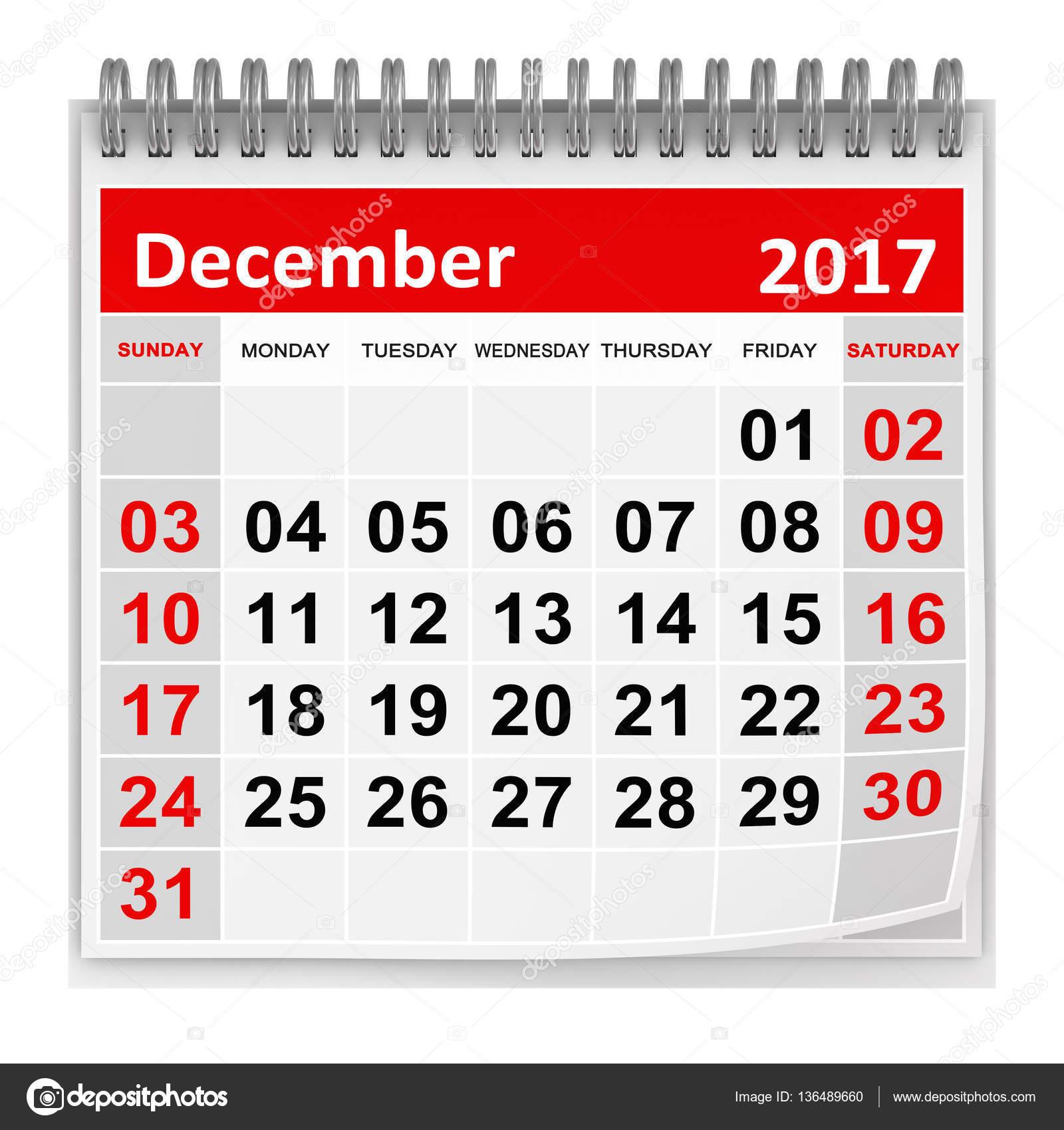 Calendário Dezembro De 2017 Stock Photo Adempercem 136489660