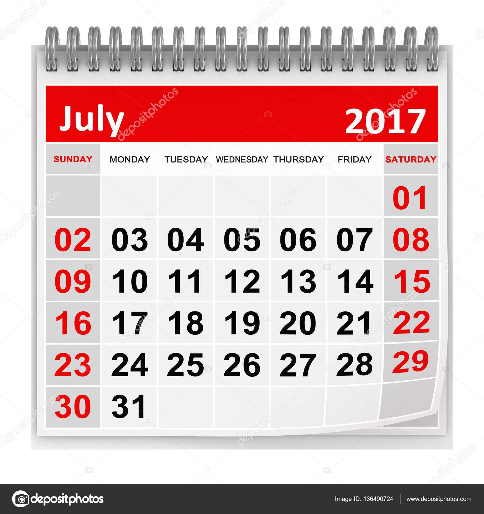 Calendar - July 2017 — Stock Photo © adempercem #136490724