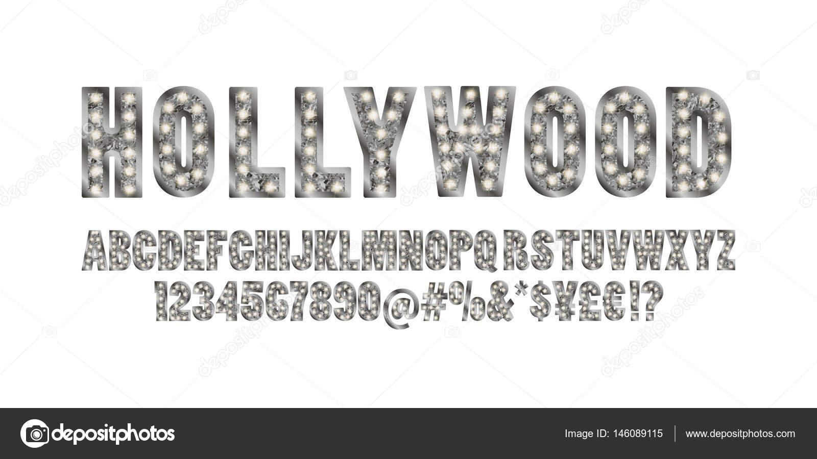 Hollywood. Color oro alfabeto con show de luces — Vector de stock ...