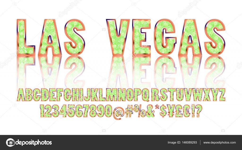 Las Vegas. Color oro alfabeto con show de luces — Vector de stock ...