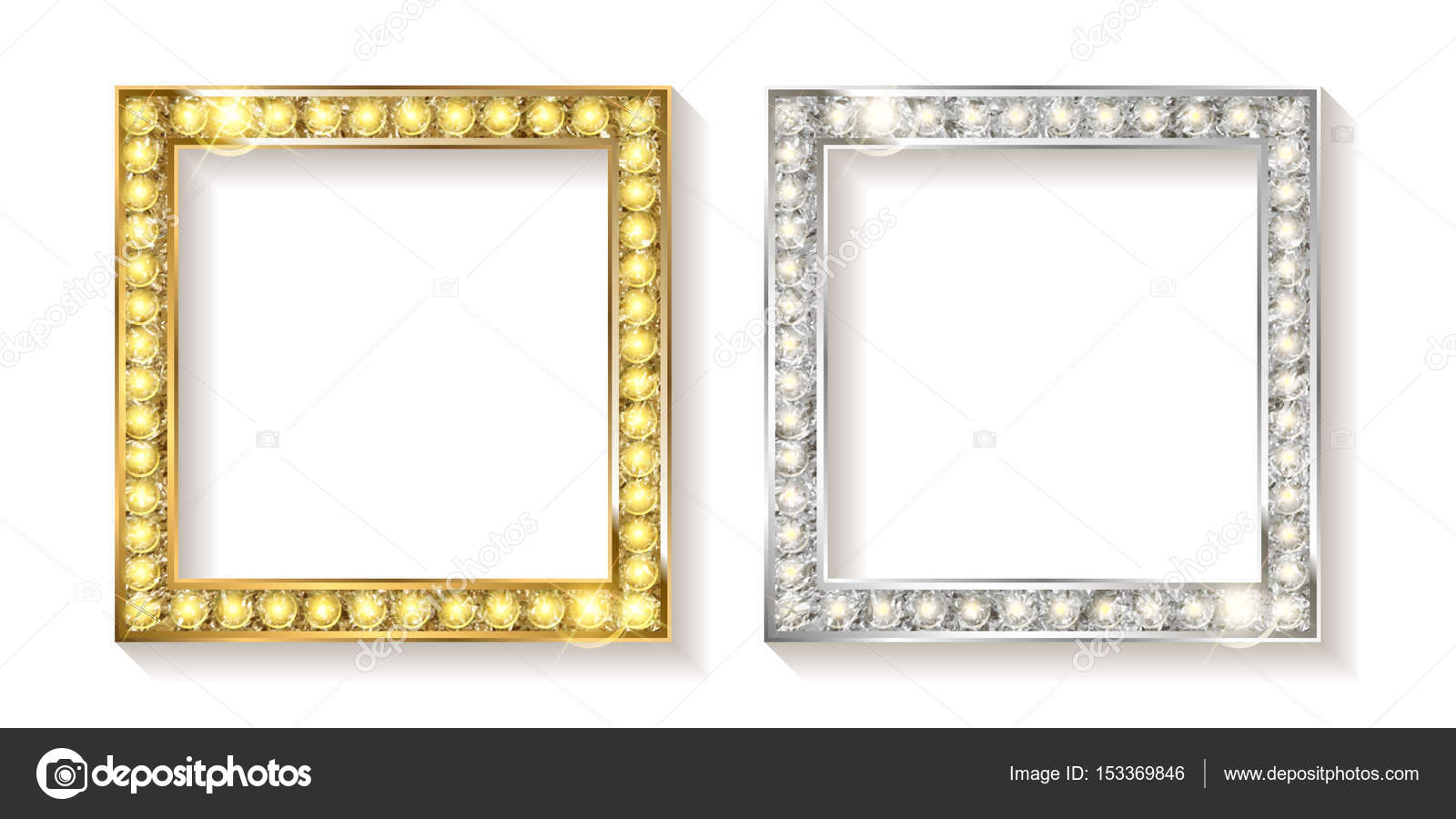 Gold And Silver Vector Picture Frames Stock Vector
