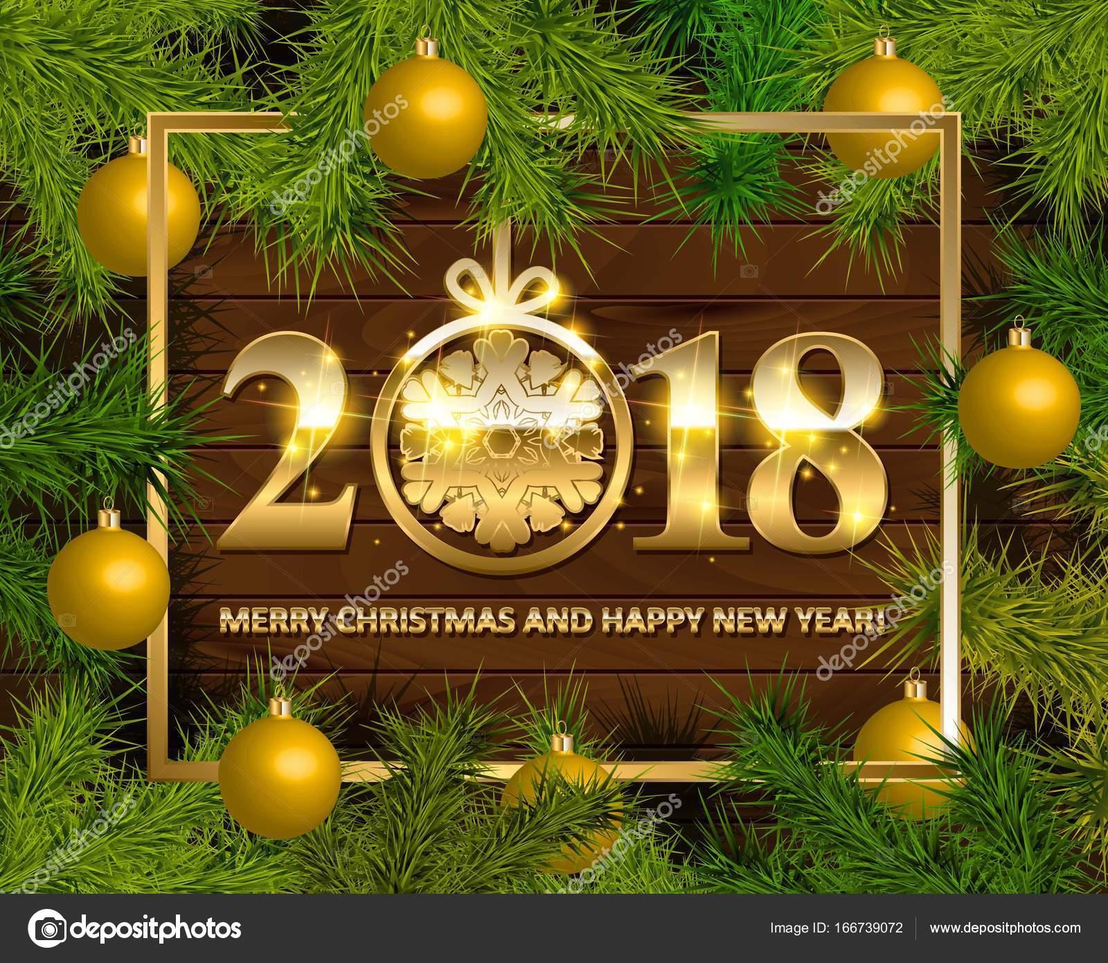 Weihnachten und Happy New Year 2018 zu heiraten — Stockvektor ...