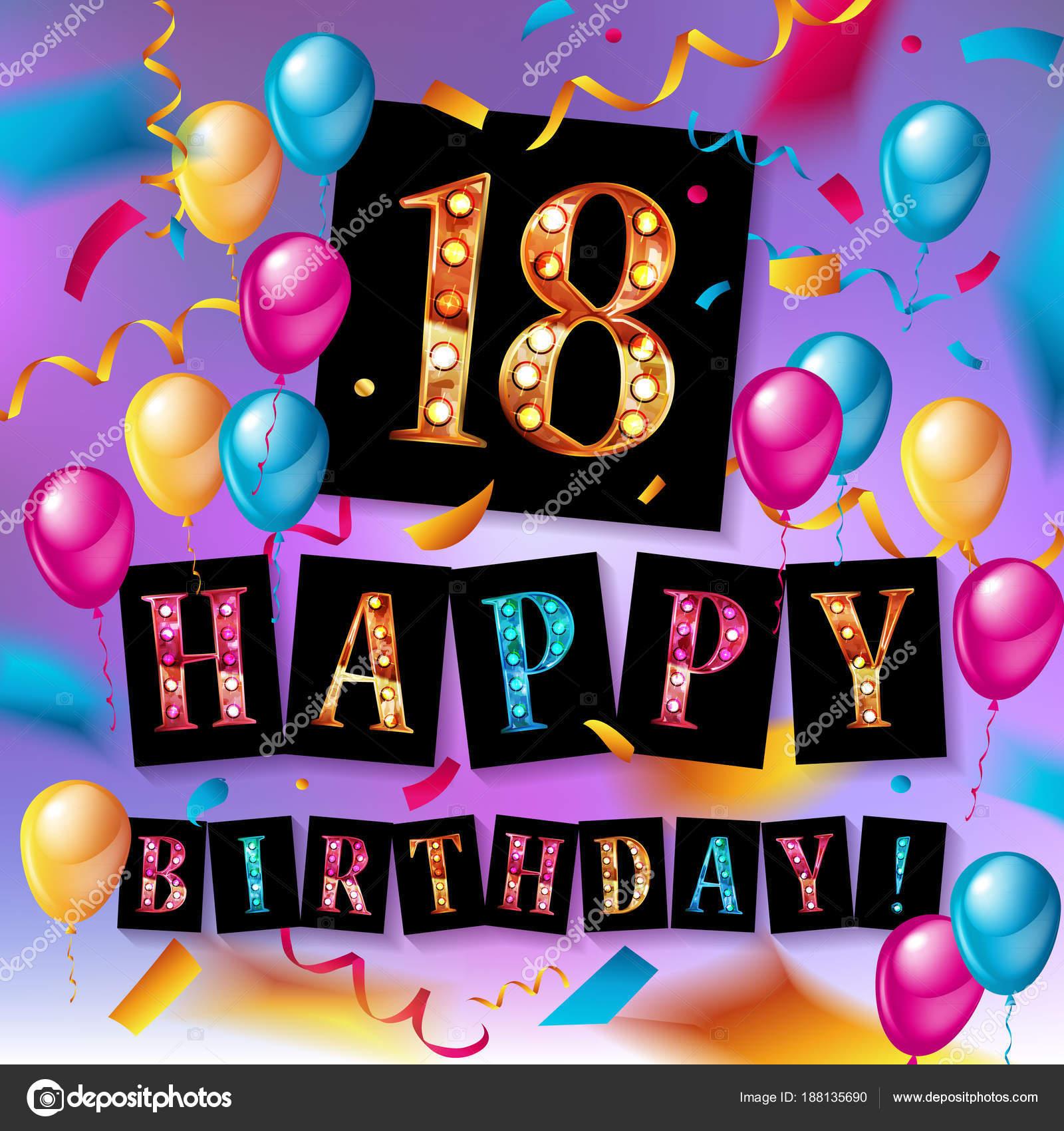 18 år grattis Grattis på födelsedagen 18 års jubileum — Stock Vektor  18 år grattis