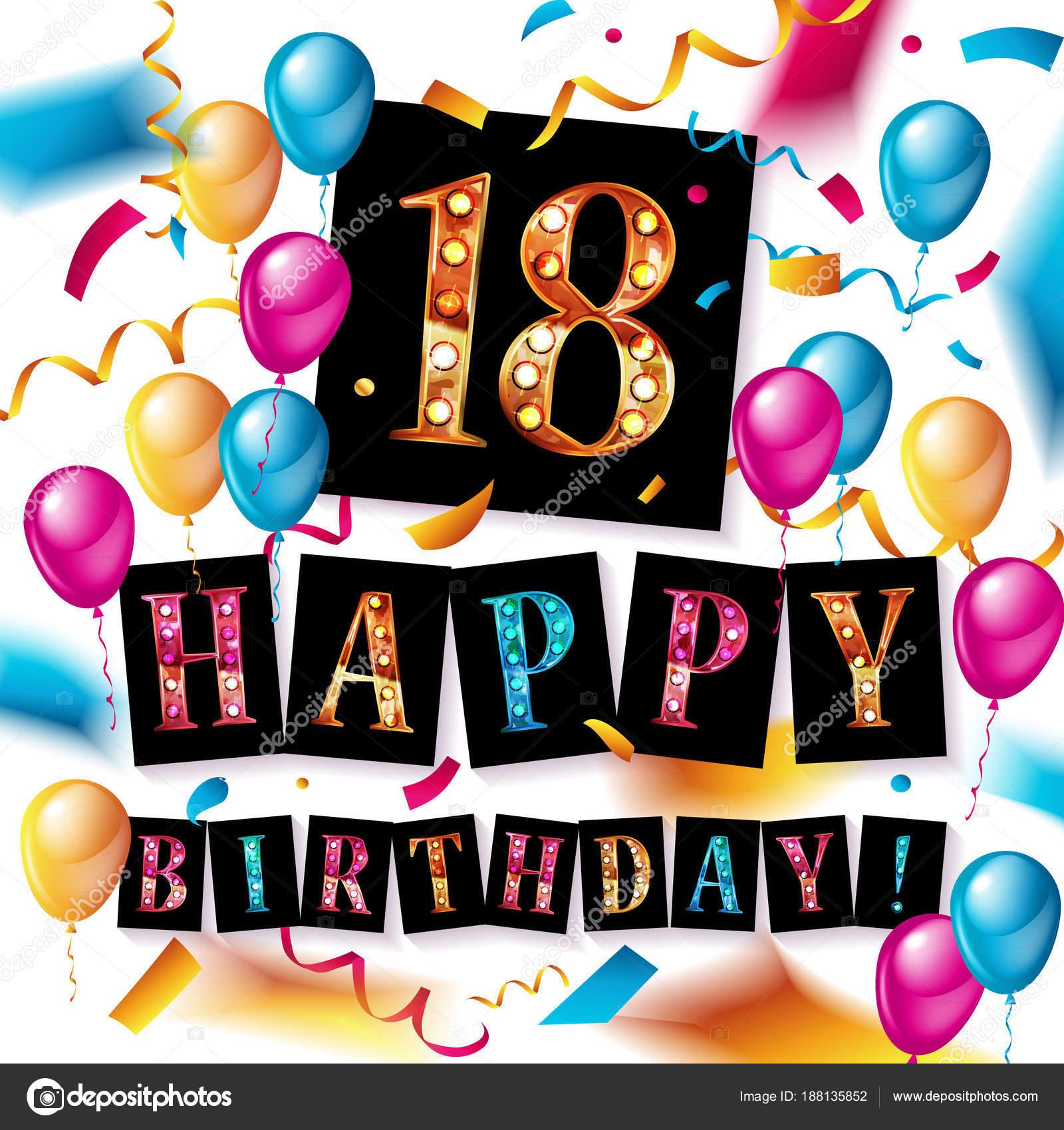 Iets Nieuws Gelukkige verjaardag 18 jaar verjaardag — Stockvector @YH68