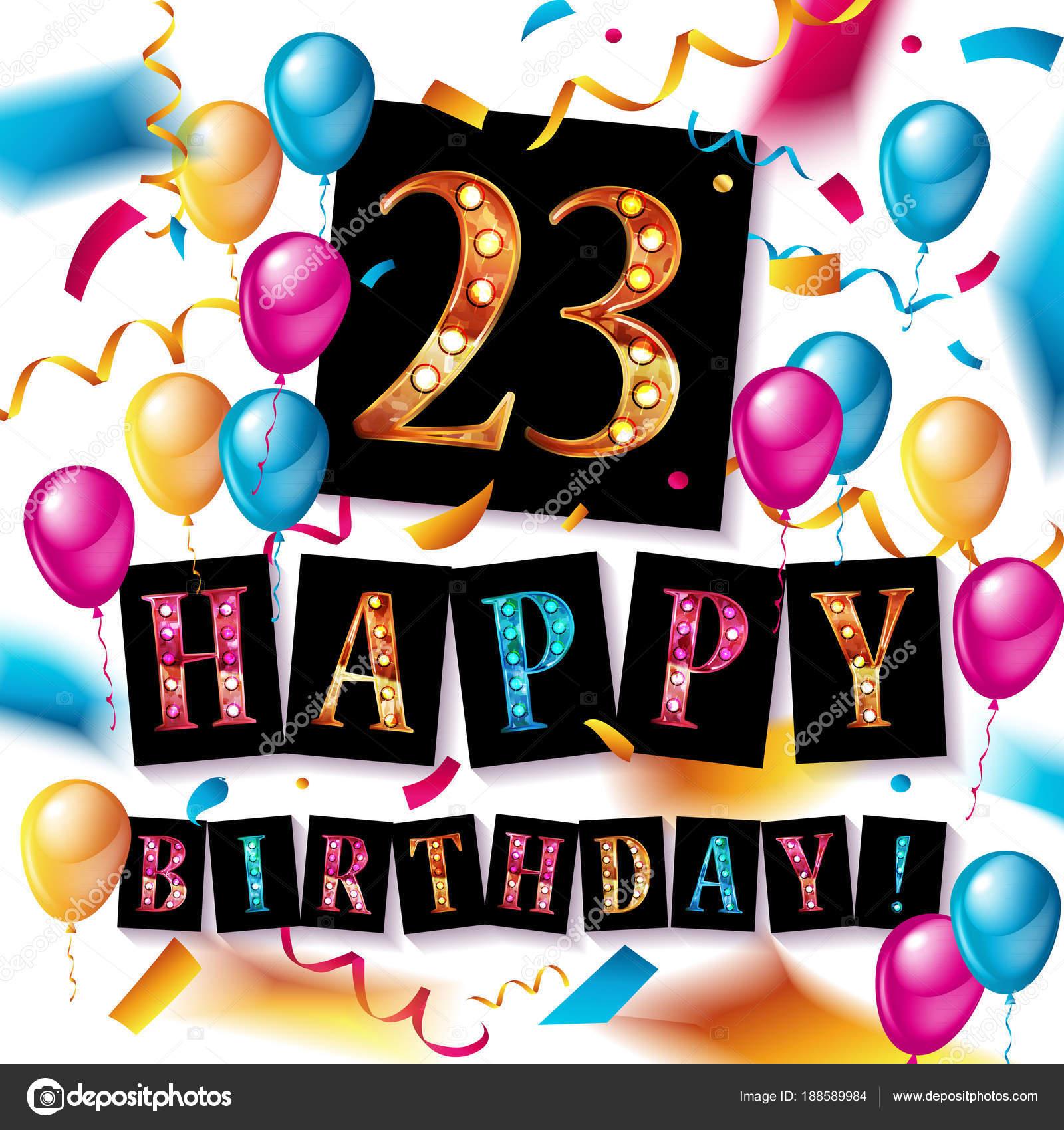 23 jaar 23 jaar viering. Gelukkige verjaardag wenskaarten — Stockvector  23 jaar