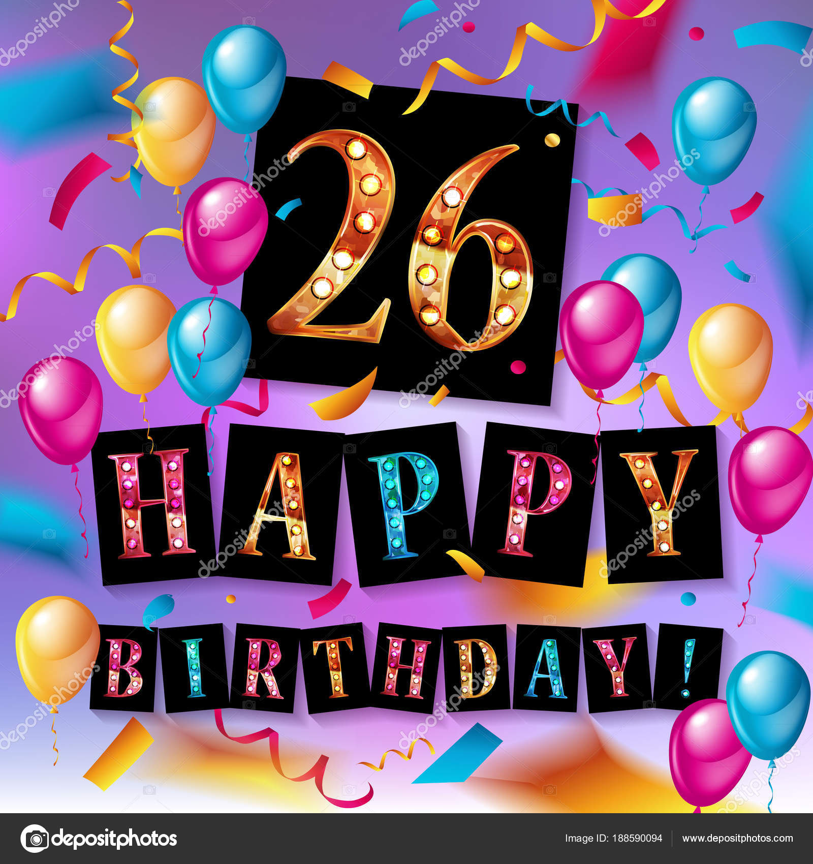 26 years celebration happy birthday greeting card stock vector