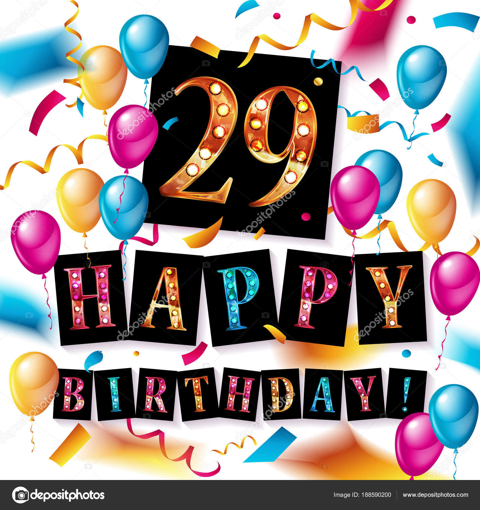 Happy birthday 29 years anniversary stock vector happy birthday 29 years anniversary joy celebration vector illustration with brilliant gold balloons and delight confetti for your unique greeting card bookmarktalkfo Images