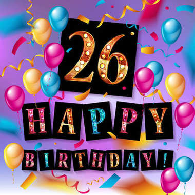 26 years celebration. Happy Birthday greeting card