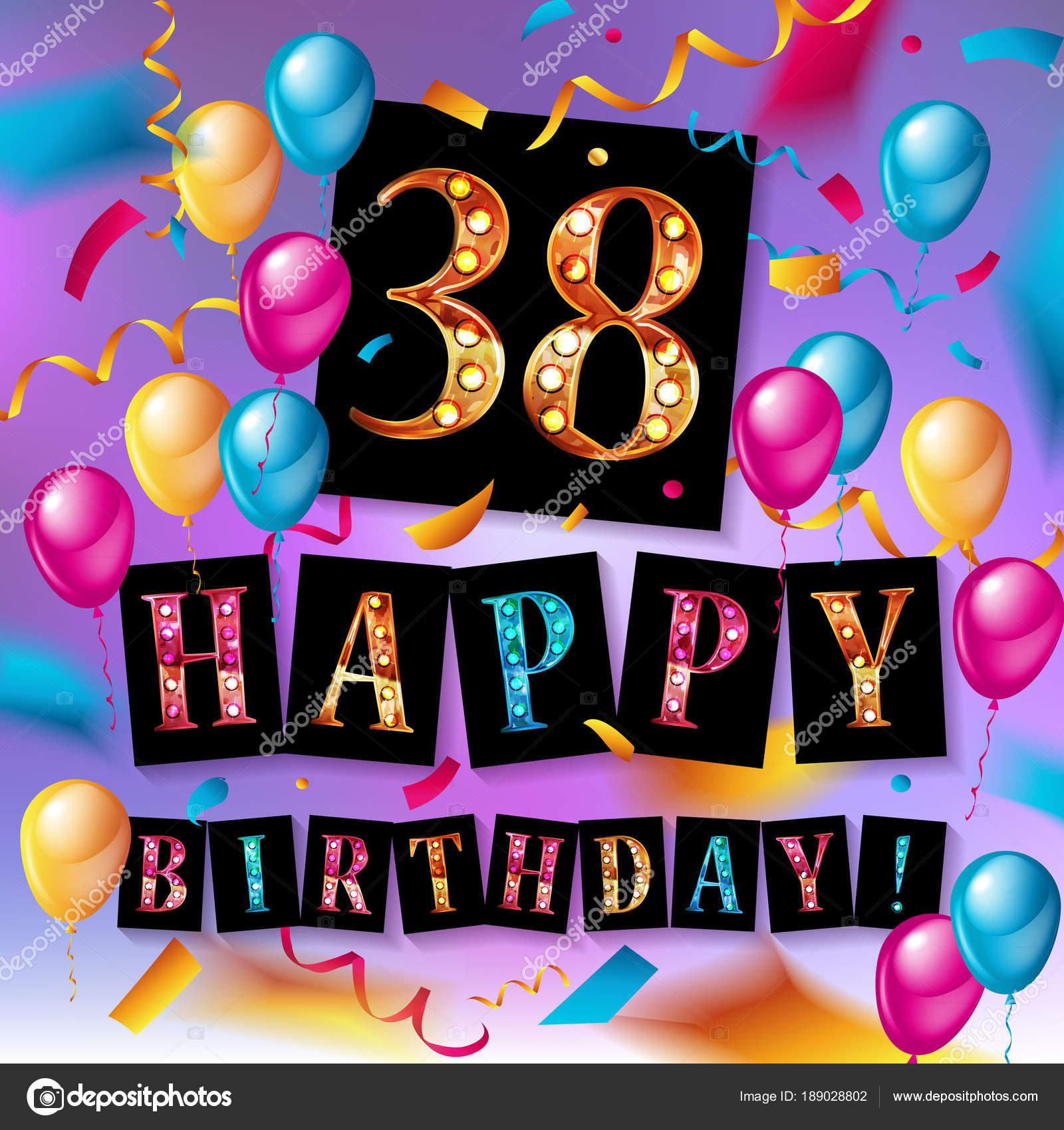 38 jaar 38 jaar verjaardag, gelukkige verjaardag — Stockvector  38 jaar