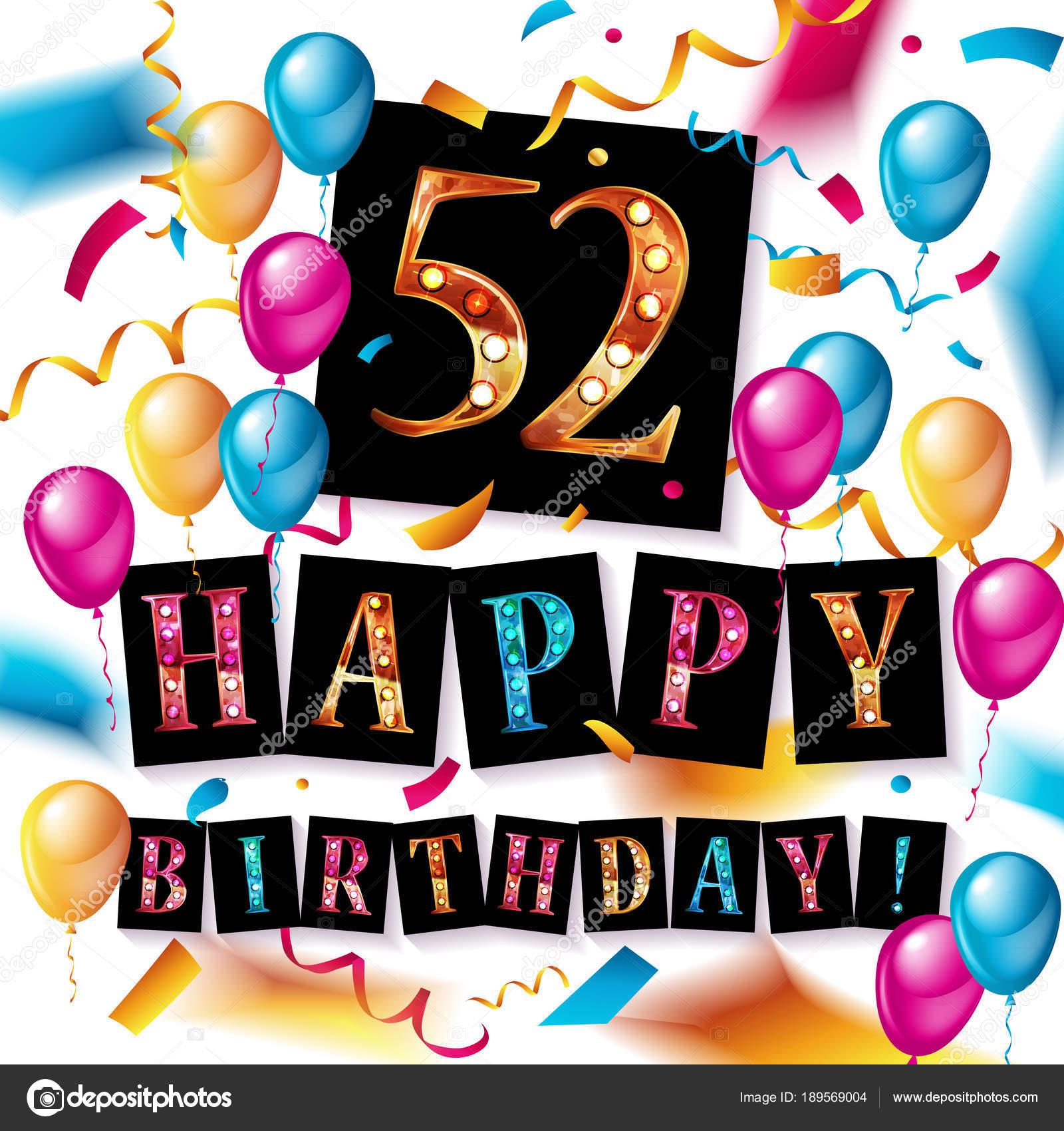 52 jaar 52 jaar verjaardag, gelukkige verjaardagsviering — Stockvector  52 jaar