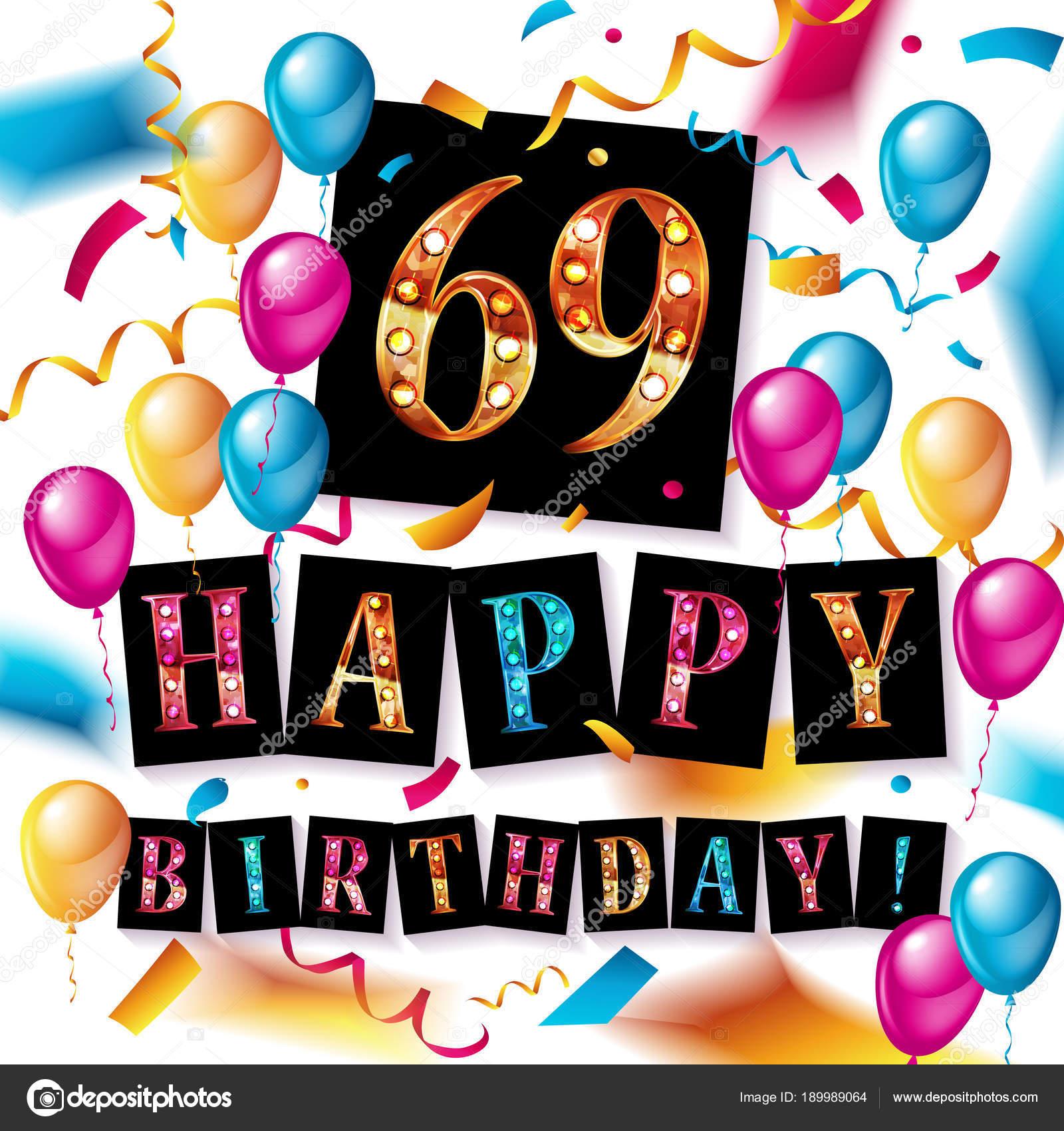 69 jaar 69 jaar verjaardag. Vectorillustratie — Stockvector  69 jaar