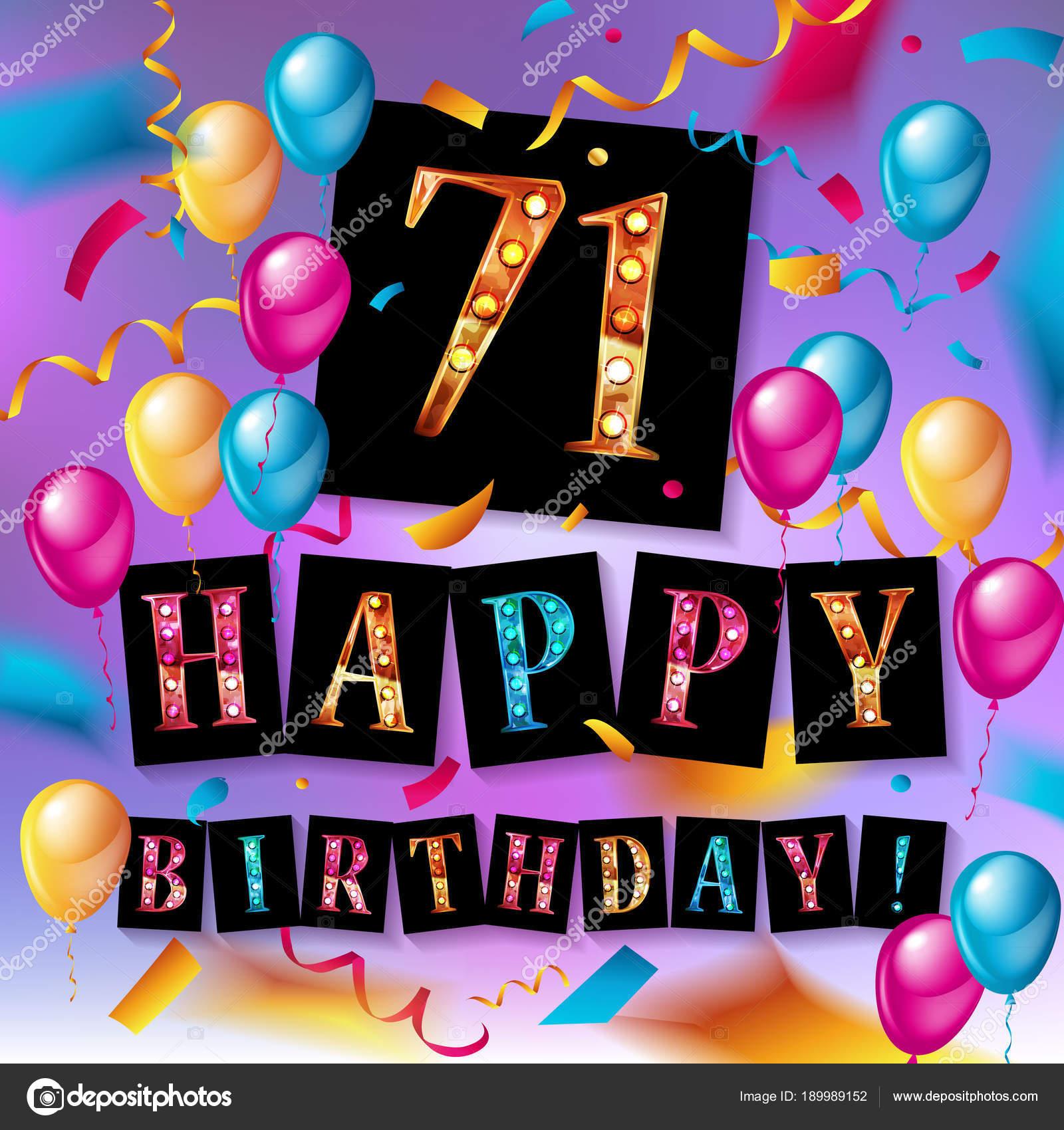 71 jaar 71 jaar verjaardag, gelukkige verjaardag — Stockvector  71 jaar