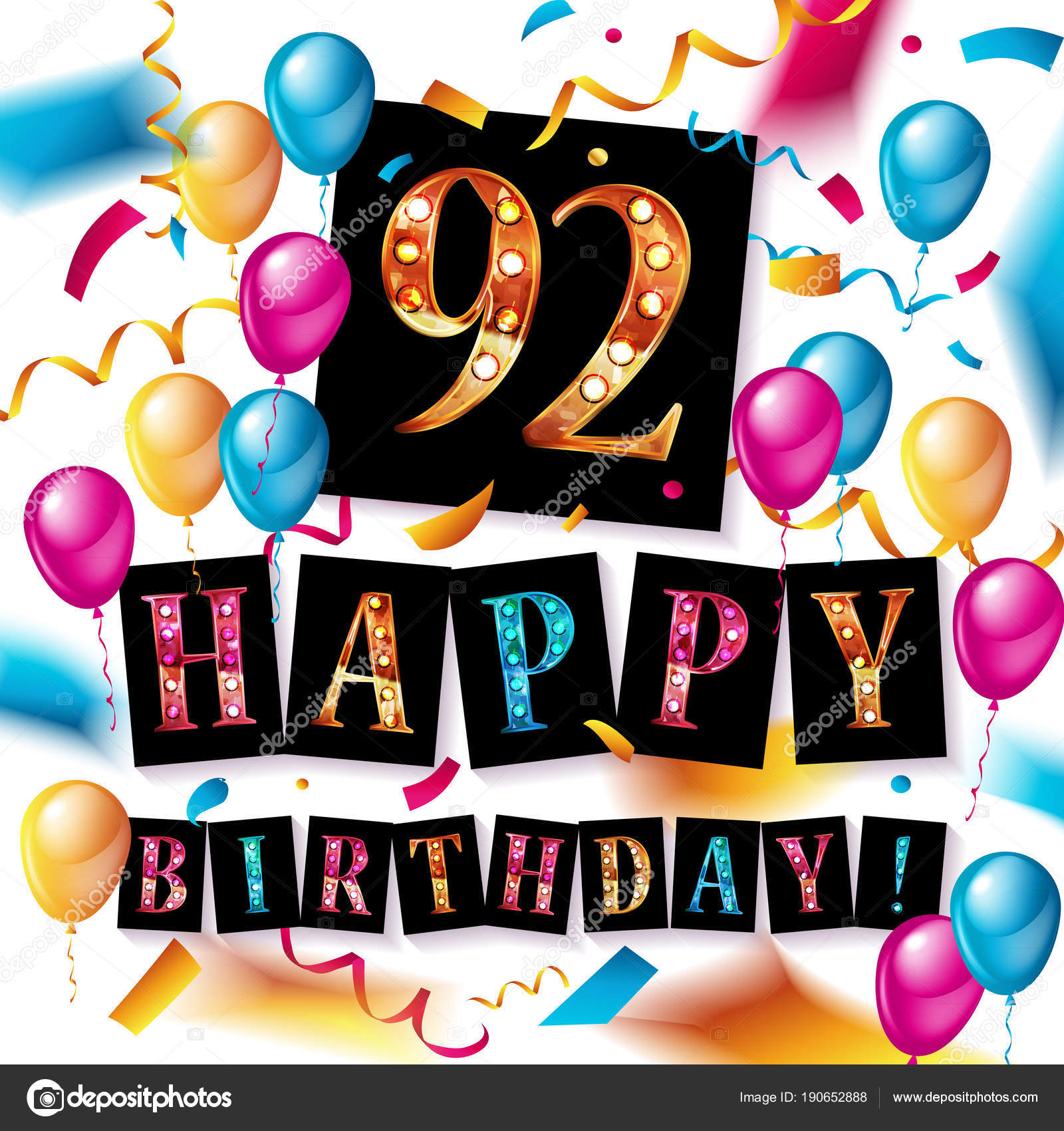 92 Jahre alt, alles Gute zum Geburtstag — Stockvektor ...