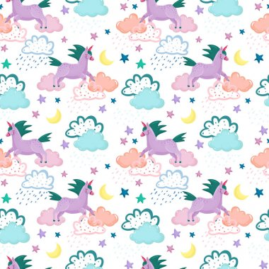 pattern with different clouds and unicorns