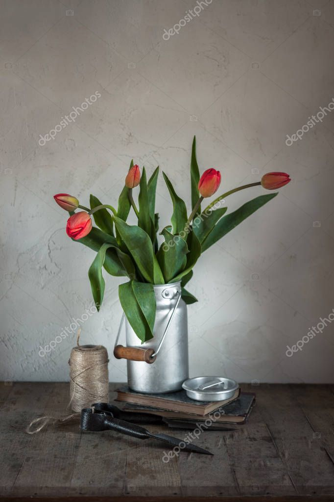 Red tulip flowers stay in water can, books, glass vase of water and craft ribbon on wooden table. Greeting for Woman or Mother Day