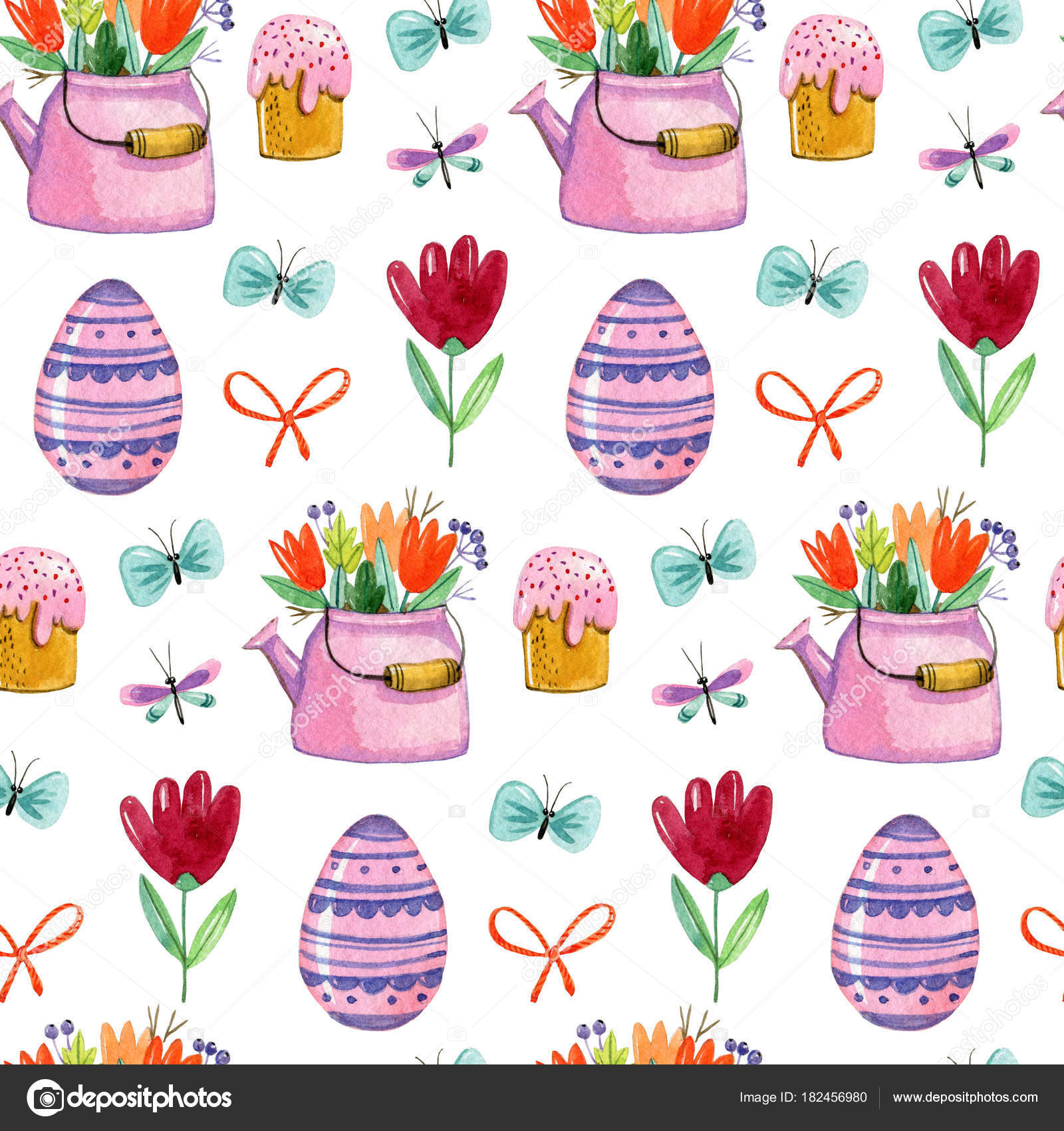 Mano Acuarela Dibujo Patrón Con Muffins Pascua Teteras Con Arcos ...