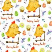 Fotografie Aquarell Handzeichnung Muster mit niedlichen gelben Huhn was fahren eines Rollers, Ostern Muffins, Eiern, Schmetterlinge, Zweige und Blätter, Buchstaben auf weißem Hintergrund. Ostern-Muster