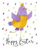 Fényképek Vicces rajzfilm sárga és lila csirke fehér alapon, színes csepp körül. Aranyos akvarell illusztráció húsvéti csirke