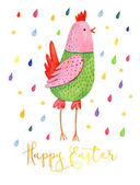 Fényképek Vicces rajzfilm rózsaszín és zöld csirke fehér alapon, színes csepp körül. Aranyos akvarell illusztráció húsvéti csirke