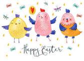 Fotografie Glückliches Ostern Grußkarte. Niedlichen Charakter Hühnchen mit Text auf weißem Hintergrund mit bunten und Gold fällt. Aquarell Bild