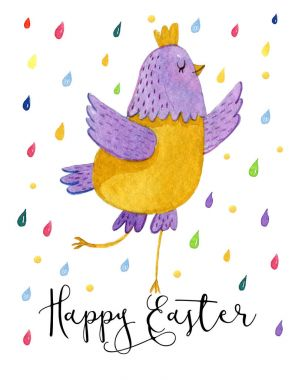 Funny cartoon yellow and violet chicken on white background with colorful drops around. Cute watercolour illustration with easter chicken.