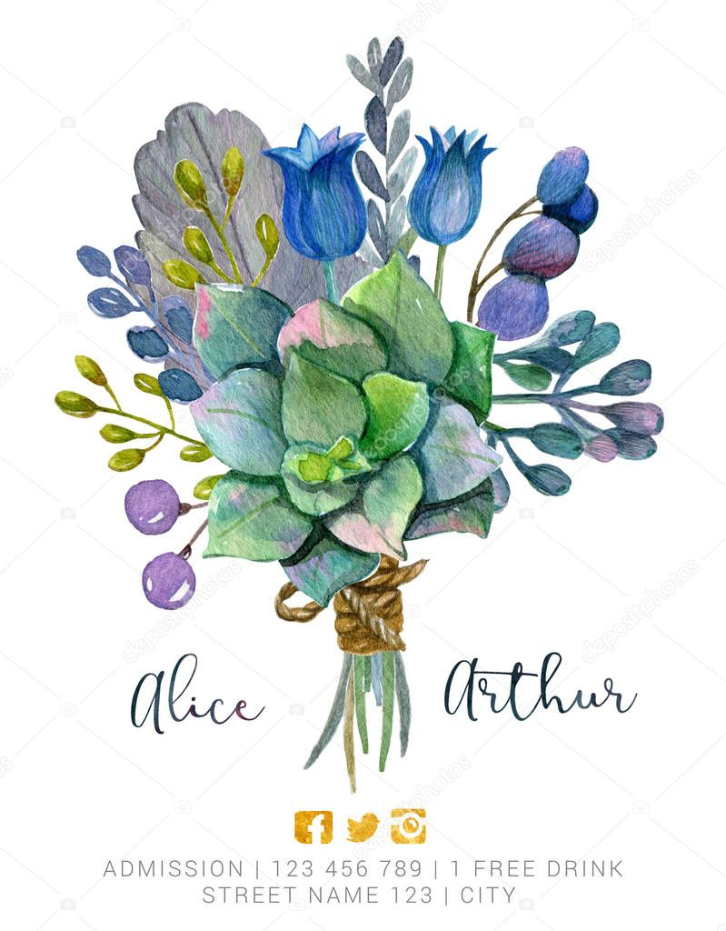 Beautiful watercolor bouquet with succulent flower, foliage, branches and bird feather. Hand painted lovely illustration.Can be used for greeting card, wedding, invitation, lettering.