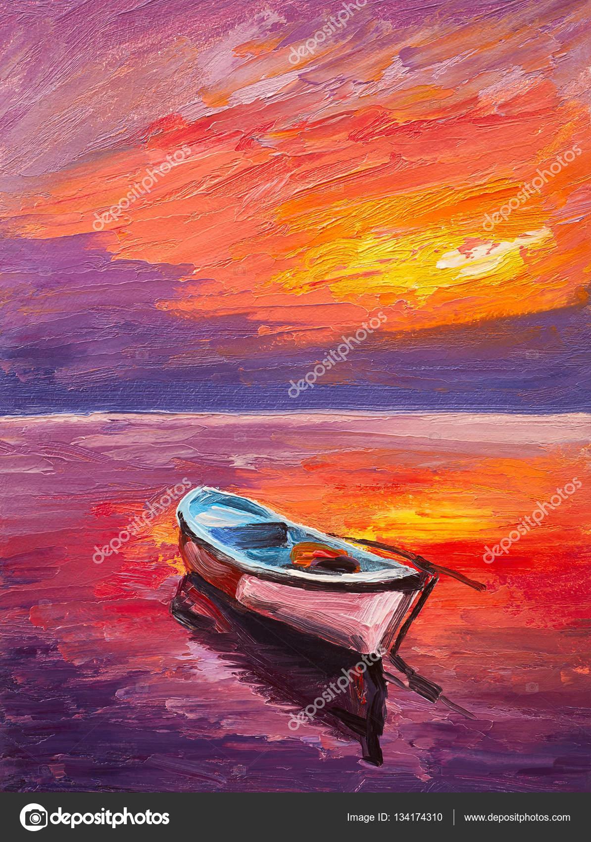 Yağlı Boya Deniz Art Izlenimcilik Renkli Gün Batımı Tekne Stok
