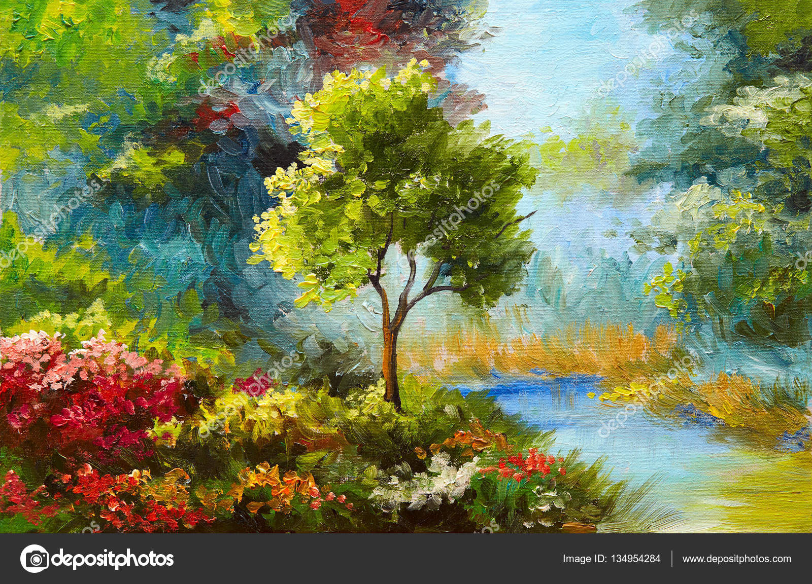 oil painting, flowers and trees near the river, sunset — Stock Photo ...