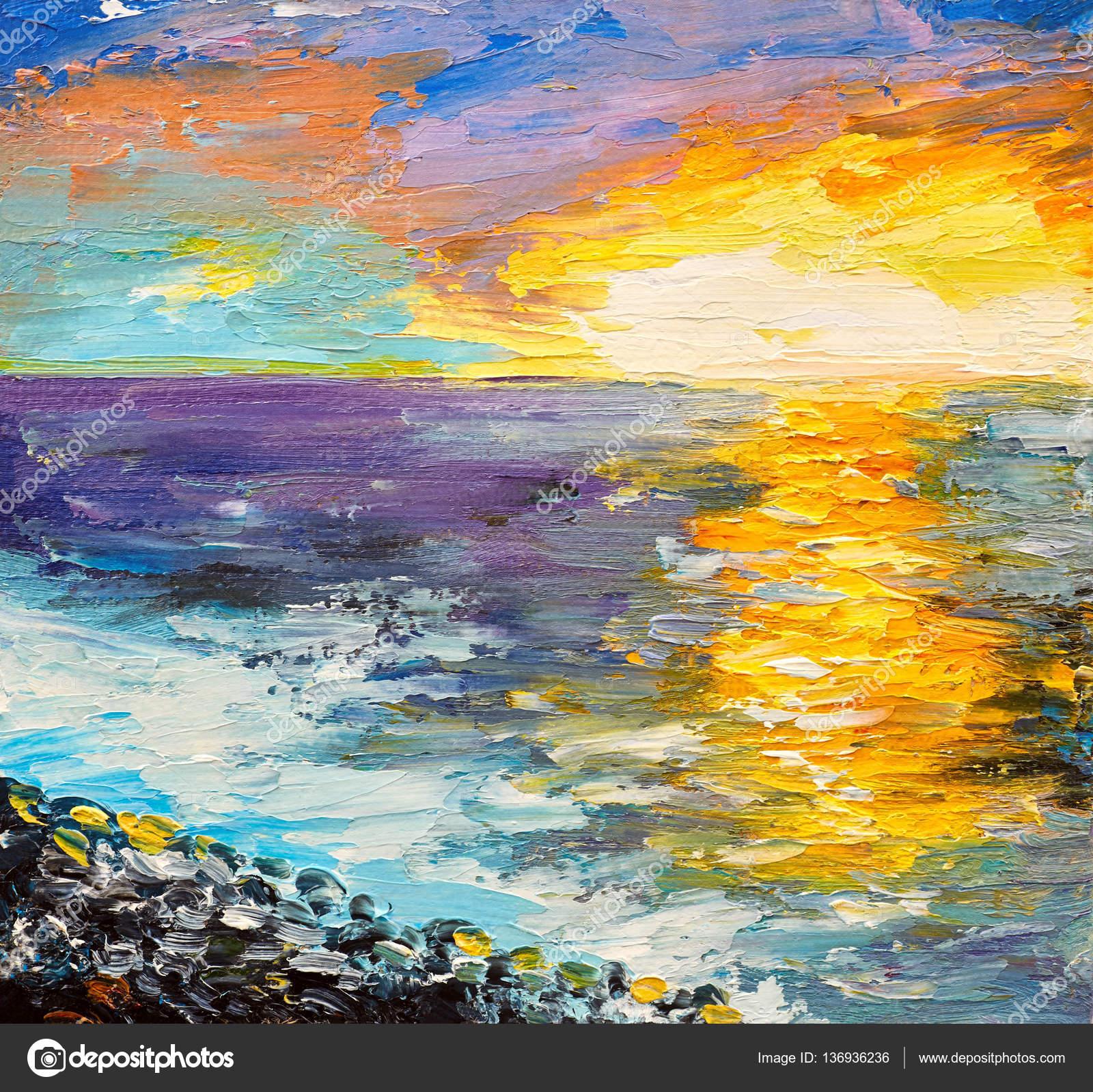 Yağlı Boya Deniz Kıyısında Suluboya Günbatımı Stok Foto