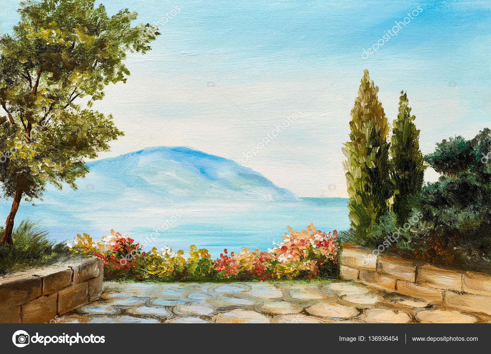 Yağlı Boya Dağlar Deniz Kenarı çizim Soyut Stok Foto