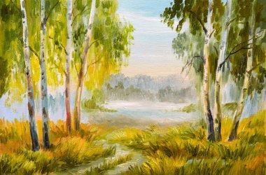 "Картина, постер, плакат, фотообои ""Картина маслом пейзаж, Летний лес с дорогой"", артикул 138006146"