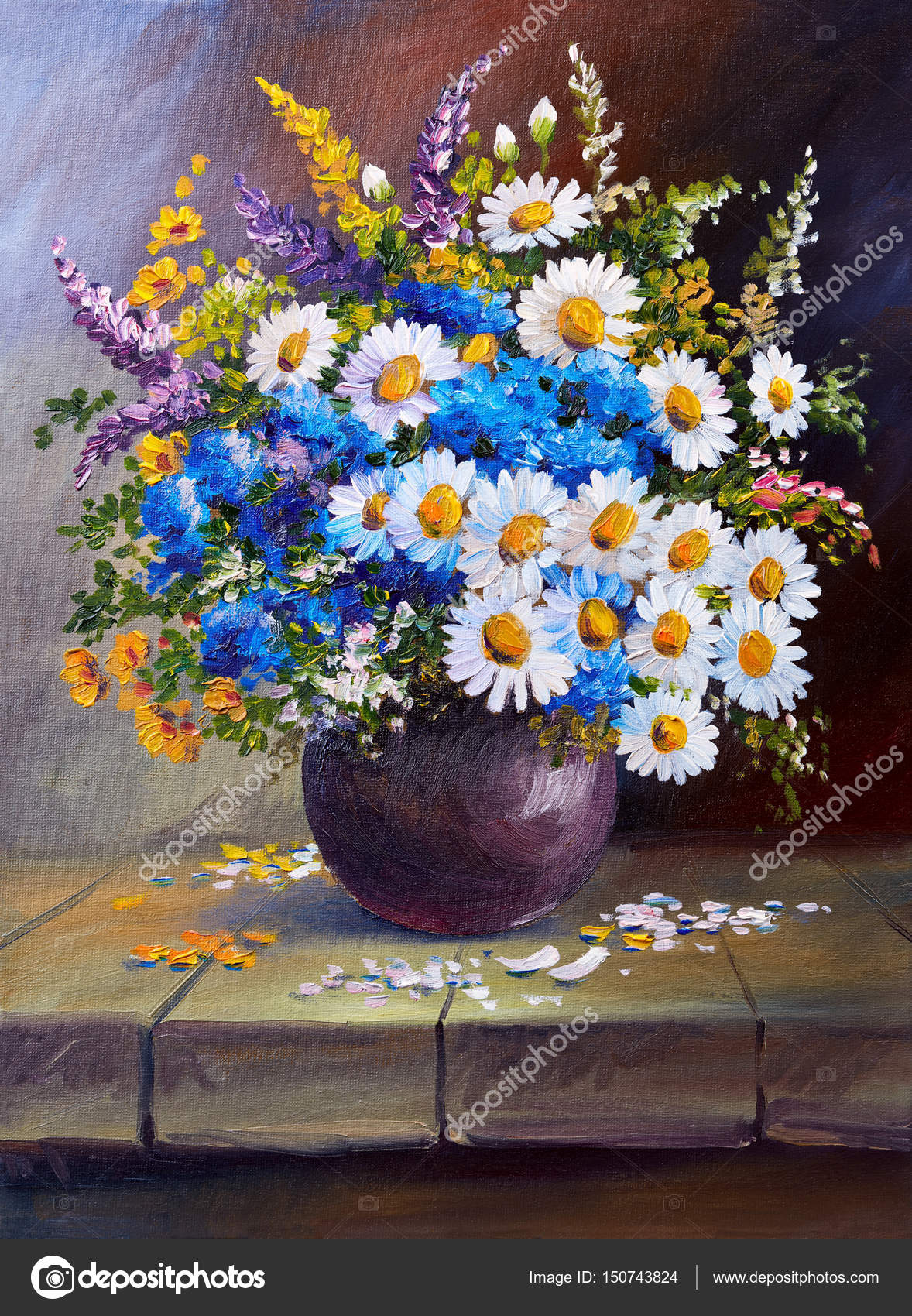 Młodzieńczy Obraz olejny na płótnie, Martwa natura, kwiaty — Zdjęcie stockowe ET02
