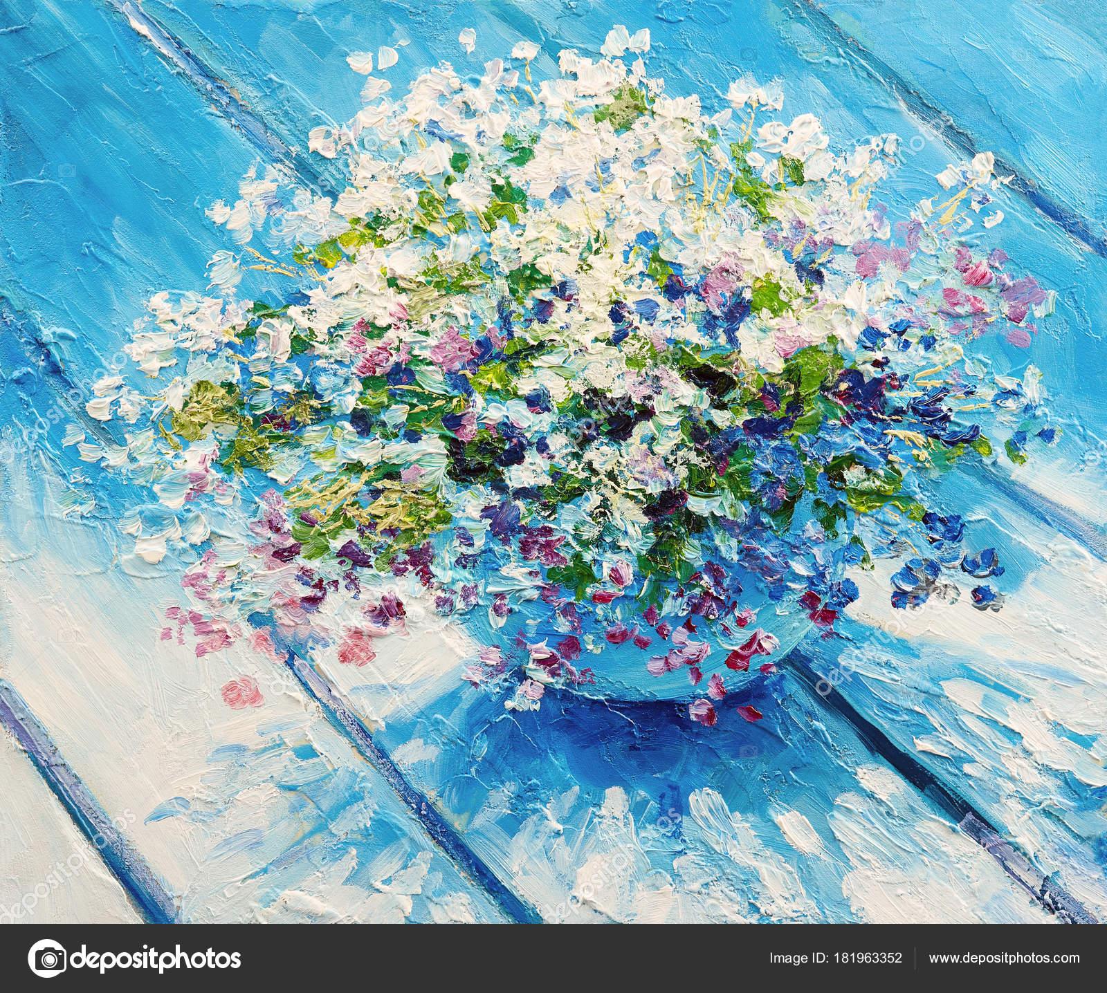 Obraz Olejny Płótnie Martwa Natura Kwiaty Impresjonizm Kompozycji