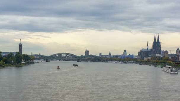 Timelapse video of Cologne with boats passing by on Rhine river
