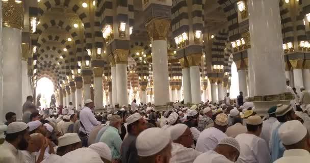 Muslime beten in der haram masjid (Moschee) nabawi in al madinah, saudi arabien