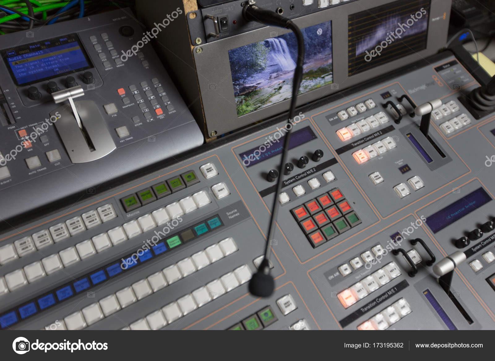 Broadcast studio video and audio switcher mixer — Stock