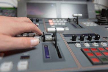 Broadcast studio video and audio switcher mixer stock vector