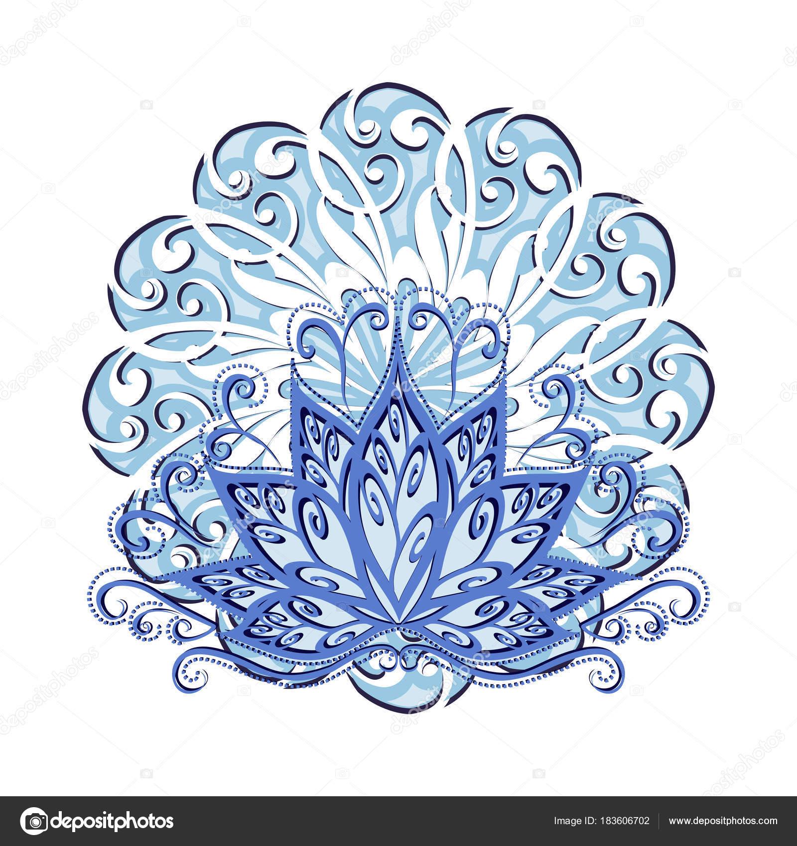Lotus Mandala Vector Image Stylized Lotus Flower Vintage Style