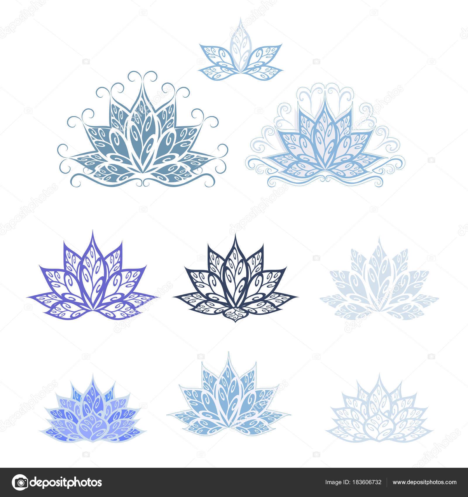 Lotus Ensemble Image Stylisée Vectorielle Une Fleur Lotus