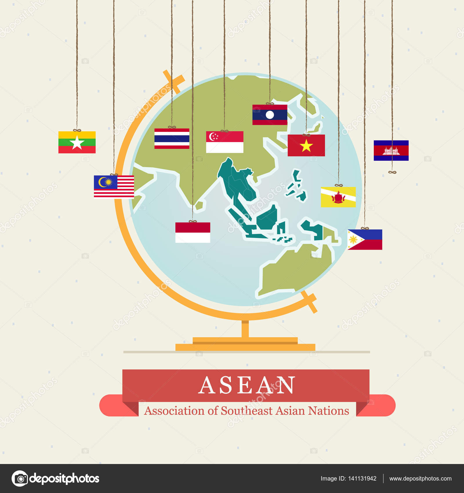 Asean map and hanging flags vector stock vector angkritth asean map and hanging flags vector illustration vector by angkritth gumiabroncs Image collections