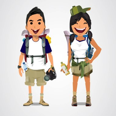 A vector illustration of adventure tourism - boy and girl - vect